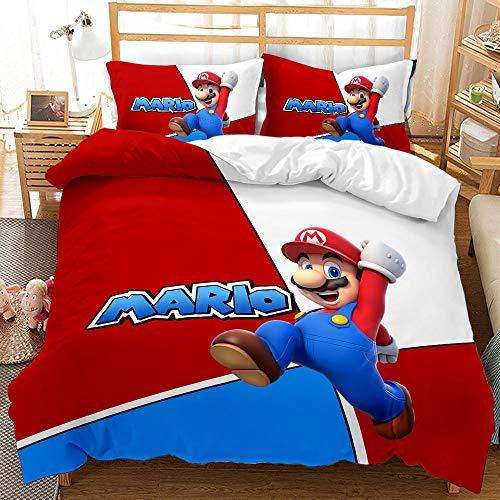 ARTGHJL Super Mario - Juego de ropa de cama con diseño de Super Mario, funda nórdica de 135 x 200...