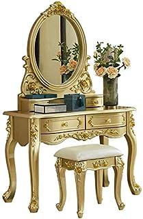Large Classical Makeup Dressing Table, Wood Makeup Dressing Table with 2 Sliding Drawers, Removable Makeup Organizer, Vani...