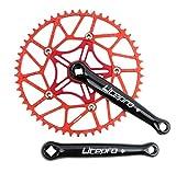 NINI Accesorios de Bicicletas Integrados de Control Central, Rueda Dentada de cigüeñal para Bicicleta Plegable, Brazo de manivela de 170 mm, Piezas de Bicicleta de aleación de Aluminio,48T