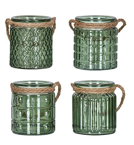 levandeo 4er Set Windlicht H10cm Glas Grün Khaki Teelichthalter Tischdeko Kerzen Deko Kerzenhalter Flachs
