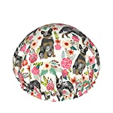 Australian Cattle Dog Florals adjustable Double-Layer Women'S Waterproof Shower Cap, Waterproof Jacket, And Eva Lining, Suitable For All Hair Lengths.