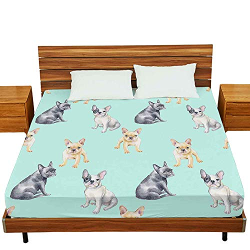 Full Fitted Sheet Only, Watercolor Seamless Pattern of French Bulldog Pet Puppy Background Animal Soft Stretchy Jersey Knit Fitted Sheet, Bed Decoration
