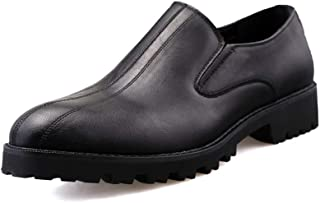 AiHua Huang Men's Business Oxford Casual Fashion British Comfortable and Wear-Resistant Leisure Slip On Shoes (Color : Black, Size : 5.5 UK)