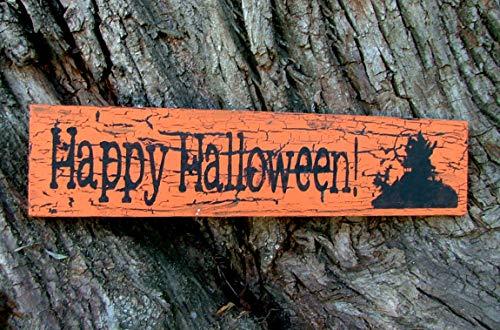 Free Brand Placa de madera para pared, diseño de Papá Noel, con mansión encantada, naranja calabaza con efecto negro agrietado, decoración de madera recuperada para el hogar pared/oficina