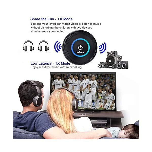 Golvery Bluetooth 5.0 Transmitter Receiver for TV, 2-in-1 aptX Low Latency Wireless Audio Adapter for PC CD DVD Radio Projector Home Car Stereo System with 3.5mm RCA Aux Jack, Pair 2 at Once 4