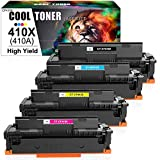 Cool Toner Compatible Toner Cartridge Replacement for HP 410X 410A CF410A HP Color Laserjet Pro MFP M477fnw M477fdw M477fdn M452dn M452dw M452nw M477 M452 Toner Ink (Black Cyan Yellow Magenta, 4-Pack)