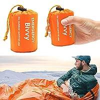❥【Material Ultraleicht und Faltbar】Der Schlafsack besteht aus aluminisiertem PE-Folie (Dicke:0,026mm, Gewicht: 120g), es ist leicht, wasserdicht, und leicht zu tragen.Die Notfalldecke lässt sich zu einem kleinen zusammenfalten, sie kann fast überall ...