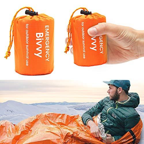 LATTCURE Notfall Überleben Schlafsack,Survival Biwaksack Erste Hilfe Rettungsdecken Wasserdicht Notfalldecke Warm Tube Zelt Ultraleicht Hitzeabweisend Kälteschutz Rettungszelt für Outdoor