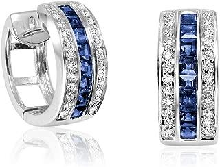 E-10250BS 10K Gold Blue Sapphire & Diamond Huggie Earrings