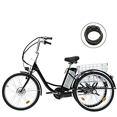 """Viribus 3 Wheel Electric Bike for Adults with 250w Motor, Bike Tube, Removable 36V 10Ah Lithium Battery, Adult Tricycle with Adjustable Cruiser Bike Seat and Bike Basket, Exercise Bike (Black2, 26"""")"""