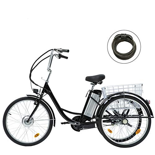 """Viribus 3 Wheel Electric Bike for Adults with 250w Motor, Bike Tube, Removable 36V 10Ah Lithium Battery, Adult Tricycle with Adjustable Cruiser Bike Seat and Bike Basket, Exercise Bike (Black1, 24"""")"""