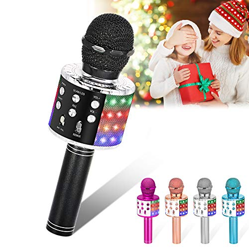 Verkstar Wireless Microphone, Bluetooth Karaoke Speaker Mic Toy for Kids Adults Birthday with LED Lights and Recording Magic Sing Portable Handheld Karaoke Machine