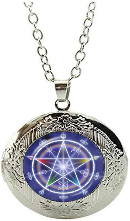 New Ranking TOP12 Wiccan Pentagram Locket Necklace Orleans Mall Pagan of Year Jew The Wheel