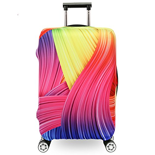 Fvstar Luggage Cover Washable Dustproof Travel Suitcase Cover Spandex Elastic Luggage Protector TSA Approved Baggage Protective Cover,(L (for 25-28 inch luggage),Colorful 22)
