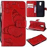Ycloud PU Pelle Custodia per Huawei Nova Smart Folding Portafoglio Cover con Stand Funzione Carta Slot Disegno 3D Goffratura Farfalla Rosso Case per Honor 6C
