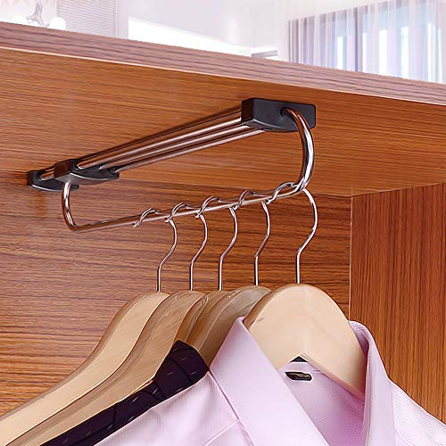 WZYX Verstellbare Kleiderstange Garderobenauszug Kleiderschrank Kleiderbügel Auszuglänge 25cm, 30cm, 35cm, 40cm, 45cm, 50cm