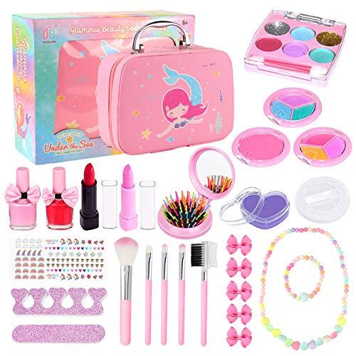 Joyhoop Kit de Maquillaje para Niñas, Maquillaje Niñas Cosméticos Lavables, Regalo de Princesa para Niñas en Fiesta Cumpleaños y Juguetes de Maquillaje.(Kit de Maquillaje Rico)