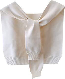 LUKALUKADA Women Lady Scarf Knitted Shawl Wrap False Sleeves Crop Coat Casual Fashion