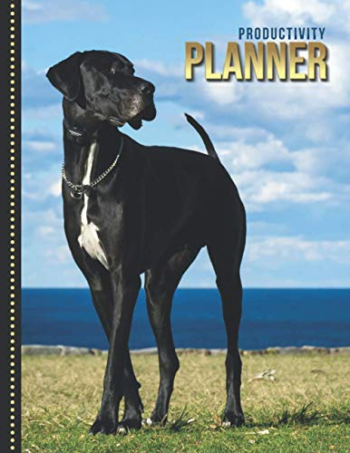 Productivity Planner: Black Great Dane Dog Photo / Undated Weekly Organizer / 52-Week Life Journal With To Do List - Habit and Goal Trackers - Personal Calendar / Large Time Management Agenda Gift 🔥