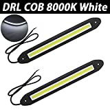TABEN 2pcs/Set 640Lm Impermeable IP67 Caucho Suave Flexible 5W 12V Flip Slim Chip COB LEDs DRL Luz de conducción diurna luz de circulación diurna para coche Vehículo Universal (línea recta, blanco)