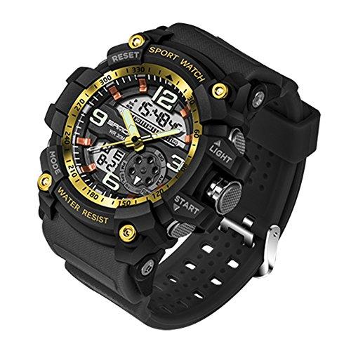 Reloj de Pulsera SANDA Hombres Reloj Impermeable hasta 30m Militar Analógico Digital Cuarzo Deporte (Negro+Oro)