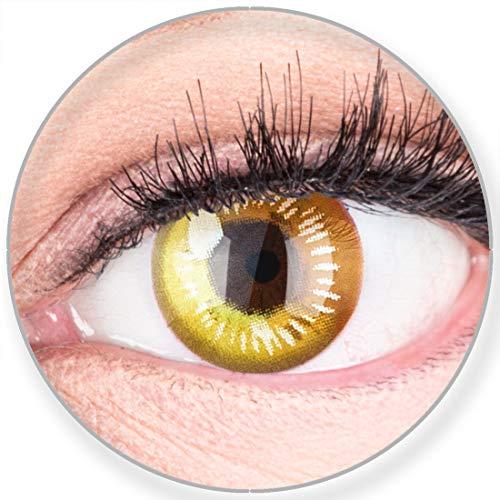 Funnylens Farbige Kontaktlinsen Gelb Anime Yellow Circle Lenses Heroes Of Cosplay Stark Deckend Ohne Stärke mit gratis Linsenbehälter