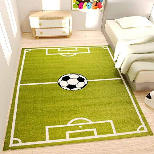 VIMODA Spiel Teppich Kinderzimmer Fußball Grün Kurzflor Robust, Maße:120x170 cm