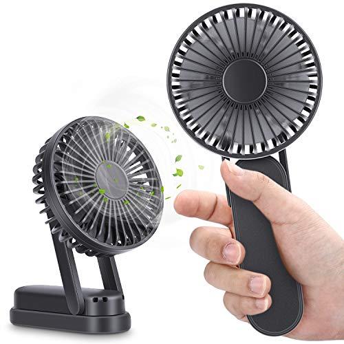 Magicfun Mini Ventilador de Mano, Ventilador USB de 3000mAh Recargable Batería, Portátil Eléctrico Ventilador Plegable, Ajustable 3 Velocidad para el Oficina, Hogar, Acampada, Viajes, Exterior(Negro)
