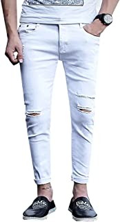 Men's Ripped Skinny Distressed Destroyed Slim Fit Zipper Jeans with Holes