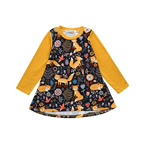 K-youth Vestidos Bebé Niña, Estampado de Zorro Manga Larga Vestido de Princesa Ropa Niña Party Dresses (Amarillo, 2-3 años)