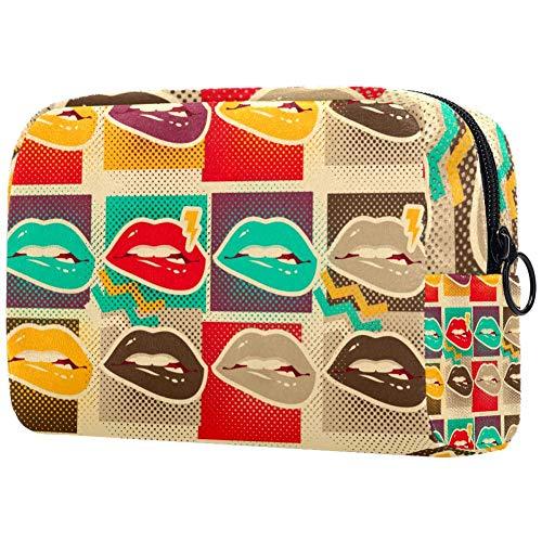 Pop Art Lips Copies Sans couture Style Rétro Petit sac de Maquillage Sac à Main Voyage Maquillage Pochette Mini Sac à Cosmétique pour Femme