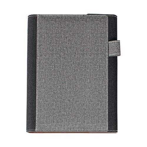 Innovation Line | Carpeta Nayaf con 80 hojas de raya. Forrado en material tipo curpiel y multiples espacios interiores para tarjetas, sobres y otros documentos. (Gris)