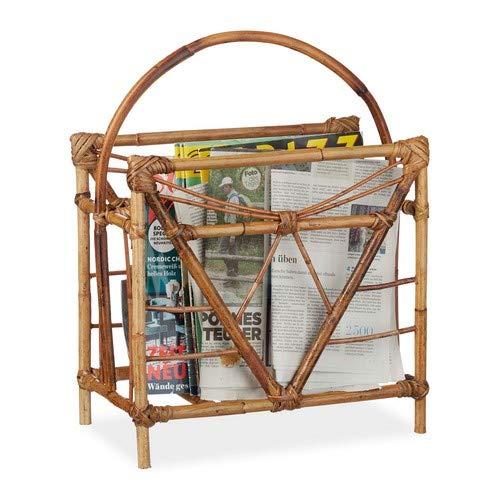 Relaxdays Porte-revues rotin, Porte-Magazines, Porte-journaux, Rangement revues, HxLxP 48 x 37,5 x 21,5 cm, Bois, Nature