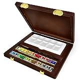 【限定品】 ターレンス レンブラント ラグジュアリーボックス 固形水彩絵具22色 木箱セット(画筆・陶器パレット付き)