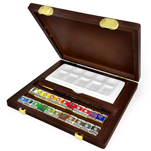 Royal Talens - Rembrandt Water Colour Box - 'Traditional' Edition in Wooden Chest - With Paints, Mixing Tray, and Brush
