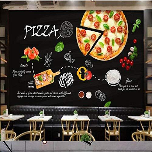 WWMJBH behang, zelfklevend, behang, zwart, met de hand beschilderd, Italiaanse pizzerie, restaurant vest, melk, thee, hamburgers, winkel, behang, muur, kunst, woonkamer, tv-achtergrond 250x175 cm (WxH) 5 rayas - autoadhesivas