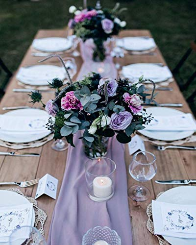 2 Pieces 10Ft Light Purple Chiffon Table Runner Sheer Fabric Runners Romantic Table Cover Decorations for Wedding Birthday Ceremony Bridal Party