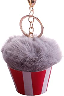 Sanwooden Cute Key Chain Fluffy Ice Cream Pompom Ball Charm Key Ring Holder Keychain Car Bag Pendant Girl Fashion Accessories