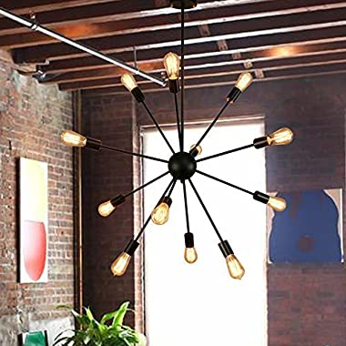 Housen Solutions Sputnik Chandelier - 12 Lights Black Pendant Lighting, Vintage Ceiling Light Fixture, UL LISTED