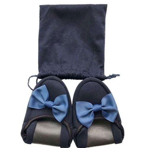 [SimonJp] 携帯スリッパ 女性用 リボン レース お受験 折り畳み 室内履き 旅行 出張 学校 収納袋付き ネービー