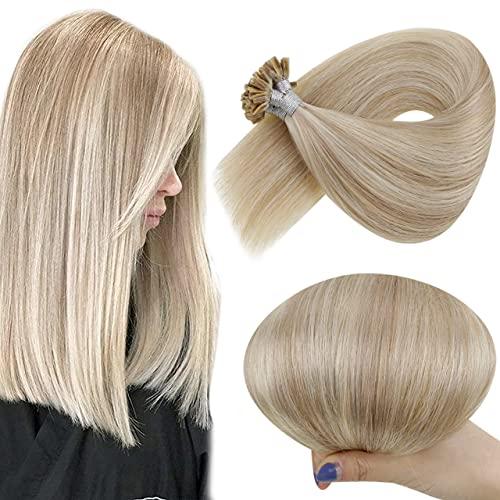 Hetto Echthaar Bondings Haar Extensions Naturlich U Tip Blond Echthaar Haarverlangerung Naturlich Keratin Extensions Bondings Haar Aschblond mit Gebleichtes Blond 1g/s 50g 18zoll