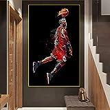 Pintura de Arte Abstracto Jordan Flying Slam Dunk Póster de Baloncesto Imagen de Pared Decoración de Sala de Estar Pintura al óleo Deportiva (Imagen 1)