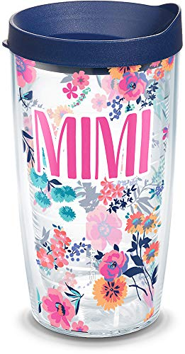 Tervis Mimi Dainty Floral Insulated Travel Tumbler with Wrap and Navy Blue Lid, 16 oz - Tritan, Clear