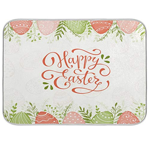 Oarenol Easter Holiday Dish Drying Mat Colorful Eggs Flower Grass Large 18 x 24 Inch Reversible Drying Mat for Kitchen Counter