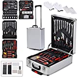 TUFFIOM Tool Box with Tools 1199 Pieces Household Tool Set with Aluminum Trolley Case, Auto Repair Tool Kit Toolbox and Wheels