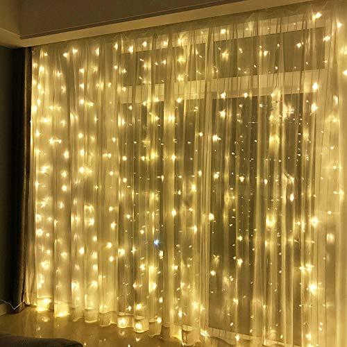 300 LED Lichterkette Warmweiß Innen 3x3Meter Lichtervorhang IP44 Weihnachten Fenster Außen 31V Verbindlich, Erinnerung 8 Lichtmodi Partylichterkette für Weihnachtsbeleuchtung