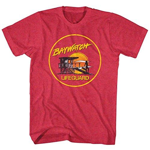 Men's Baywatch Yellow Lifeguard Station and Sunset Logo T-Shirt