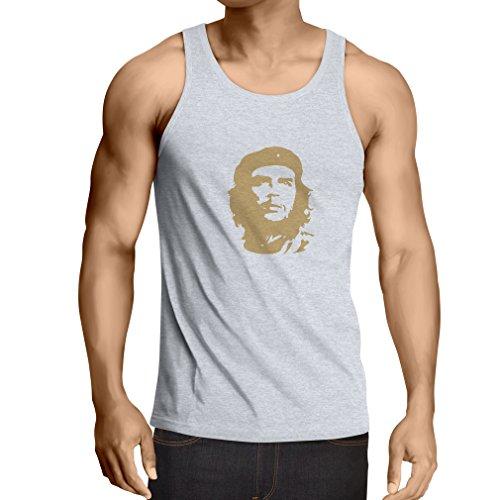lepni.me Camisetas de Tirantes para Hombre ¡como El Che Guevara - Viva la Revolución! - Revolucionario Cubano, diseño político (XXXX-Large Blanco Oro)