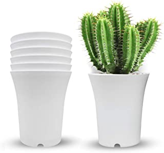 6 Pack 6.5 Inch Plastic Planters Indoor Flower Plant Pots, Modern Decorative Gardening Pot with Drainage for All House Pla...