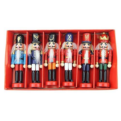 SM SunniMix 6Pcs Wooden Nutcracker Soldier Ornaments Kit Christmas Puppet Toy